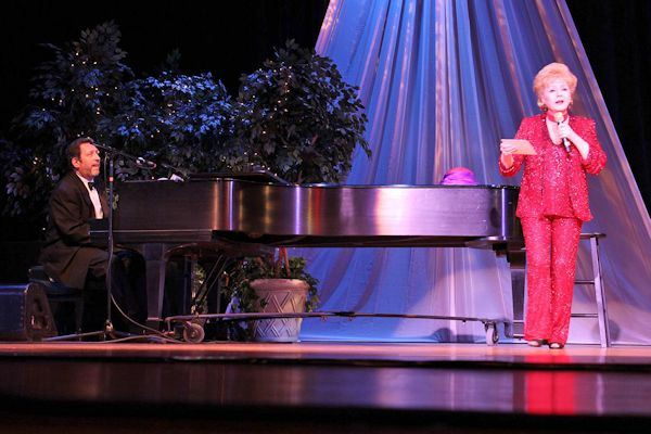 Debbie Reynolds on Stage with a Pianist