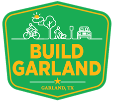 build Garland Logo Green with icons of bike, tree, walking a dog, roadways, signage